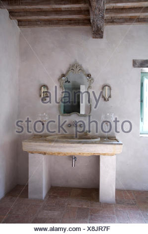 Ornate Mirror Above Washbasin In Stone Vanity Unit Rustic Italian Country Bathroom
