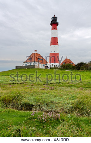 Westerheversand Lighthouse on the Eiderstedt Peninsula, North Frisia, Schleswig-Holstein, Germany, Europe - Stock Photo
