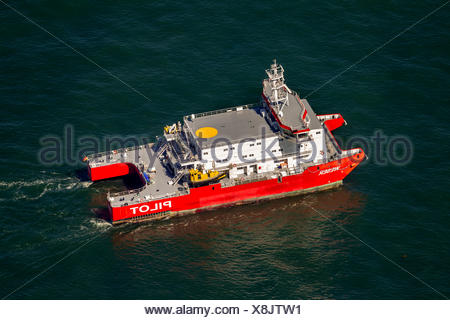 Aerial view, 'Weser' pilot boat, shipping line, shipping route, at sea, coastal waters, off Wangerooge, North Sea - Stock Photo