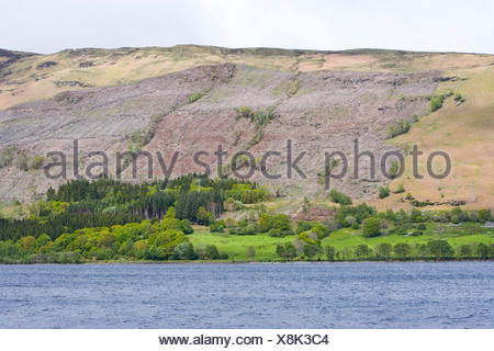 looking over a lake towards felled conifer plantation - Stock Photo