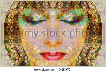 a montage of a portrait with ornaments in egyptian style - Stock Photo