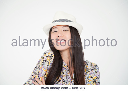 Woman wearing a trilby - Stock Photo