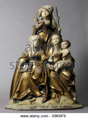 The Virgin and Child, Saint Anne, and Saint Emerentia. Date: 1515-30; Geography: Made in possibly Hildesheim, Lower Saxony, Germany; Culture: German; - Stock Photo