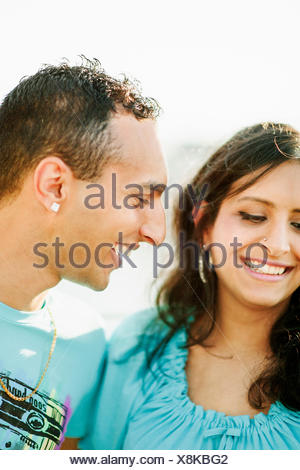 Sweden, Vastra Gotaland, Gothenburg, Young couple smiling - Stock Photo