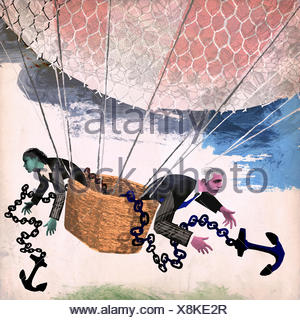 Businessman and businesswoman throwing anchor out of hot air balloon - Stock Photo