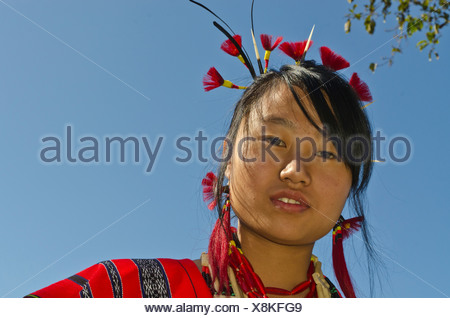 Woman of the Lotha tribe with traditional headdress at the annual Hornbill Festival, Kohima, Nagaland, India, Asia - Stock Photo