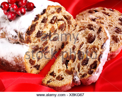 CHRISTMAS STOLLEN CAKE - Stock Photo