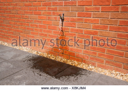 Outdoor tap with running water - Stock Photo