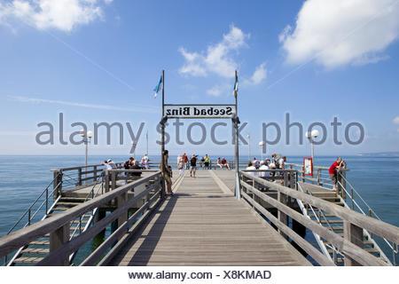 Germany, seaside resort Binz, jetty, tourists, - Stock Photo