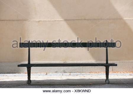 Empty bench in a garden, Terrasse De l'Orangerie, Jardin des Tuileries, Paris, Ile-de-France, France - Stock Photo