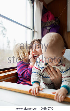 Sweden, Mother and children (12-17 months, 2-3 years) - Stock Photo