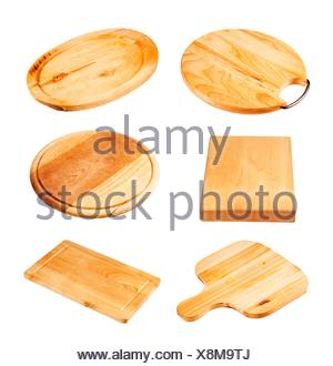 Various types of wooden cutting board - cutout - Stock Photo