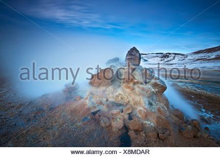 solfatara in geothermal field of Namaskard, Iceland, Namaskard - Stock Photo