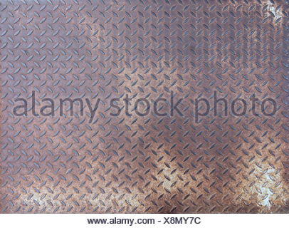 Diamond rusty steel plate - grunge texture - Stock Photo