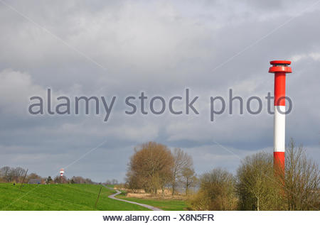 lighthouse on the dike - Stock Photo