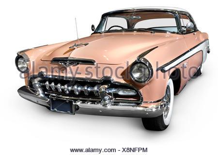 Pink white DeSoto Fireflite Sportsman 1955 classic retro car - Stock Photo