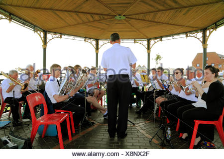 Salvation Army Brass Band, Bandstand, Hunstanton, Norfolk, seaside, entertainment, music, England, UK - Stock Photo
