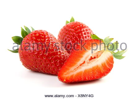isolated progenies fruits fruit strawberry ruddiness red strawberries food aliment macro close-up macro admission close up view - Stock Photo