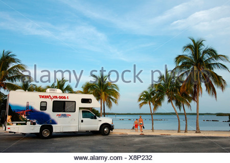 Campervan in Bahia Honda State Park, Florida Keys, Florida, USA, North America - Stock Photo