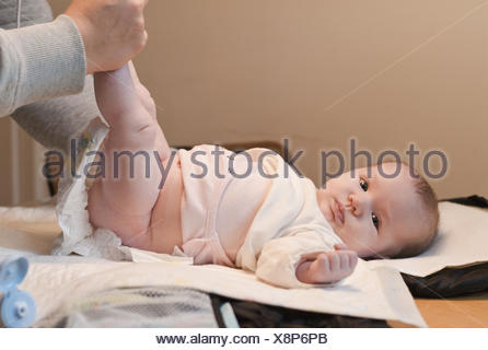 Mother, baby, nappy, change, - Stock Photo
