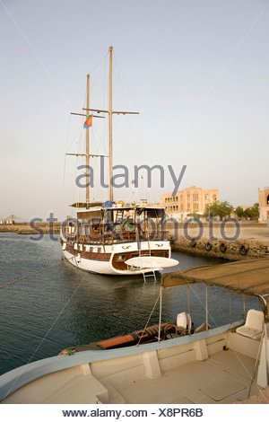 Brigantine in the harbour, Massawa, Red Sea, Eritrea, Horn of Africa, East Africa - Stock Photo