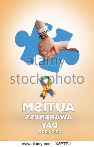 Composite image of students holding hands - Stock Photo