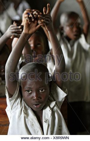 A class at the IDP CCLK Camp, Goma, Democratic Republic of the Congo - Stock Photo