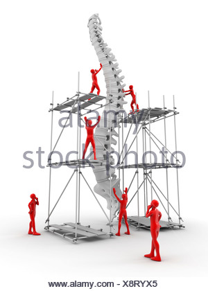 Spine with workers, spine repair - Stock Photo
