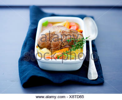Leg of lamb with vegetables - Stock Photo