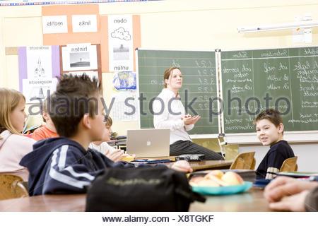 Classroom, teacher, schoolboy, lessons, - Stock Photo