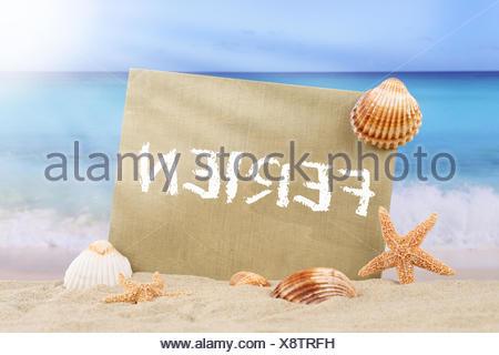 Strand Meer Szene in den Ferien im Sommer mit Seestern und Muscheln - Stock Photo