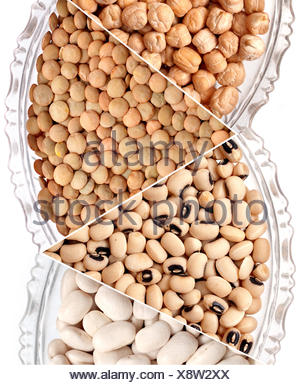 harvest, cook, mix, chickpea, bean, pea, red, close, glass, chalice, tumbler, - Stock Photo