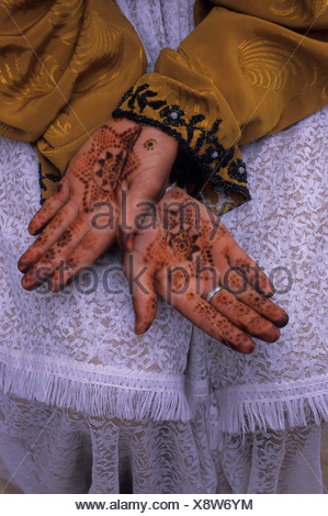 Morocco, Near Marrakech, Ourika Valley, Berber Girl, Hands With Henna, Traditional Body Art - Stock Photo