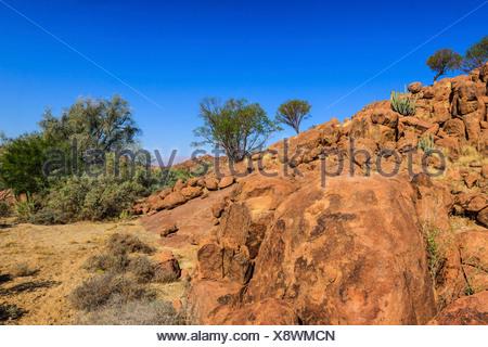 Rocky landscape, Ugab Rivier, Damaraland, Namibia, Africa - Stock Photo