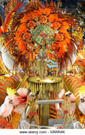Dancers on floats, parade of the Academicos do Salgueiro samba school during the Carnival in Rio de Janeiro 2013 celebrations - Stock Photo