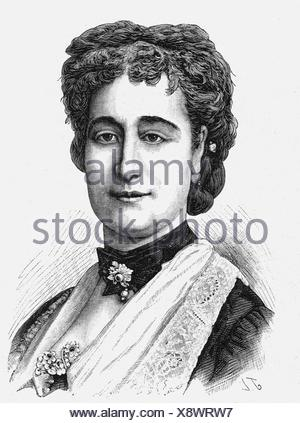 Eugenie, 5.5.1826 - 11.7.1920, Empress Consort of France 30.1.1853 - 4.9.1870, portrait, wood engraving, 19. Jahrhundert, ,