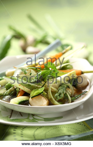 Vegetables simmered with olive oil and herbs - Stock Photo