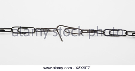 Paper clip chain with weakened link - Stock Photo