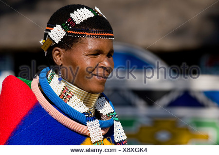 Ndebele woman wearing traditional dress, portrait, Botshabele Mission Station, Limpopo, South Africa, Africa - Stock Photo