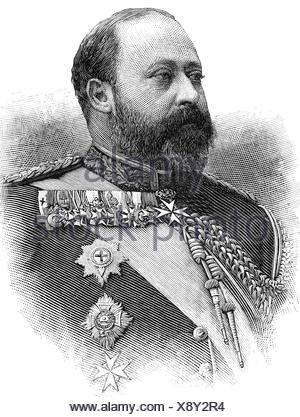 Edward VII, 9.11.1841 - 6.5.1910, King of Great Britian 22.1.1901 - 6.5.1910, portrait, wood engraving, 1891, , Additional-Rights-Clearances-NA - Stock Photo