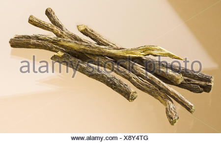 Sweet wooden, Glycyrrhiza glabra, dryly, legumes, liquorice, drug, drug, food, nature cuisine, spice, sweet wooden roots, food spice, taste, aroma, sweetly, roots, root pieces, sweet wooden sugar, G - Stock Photo