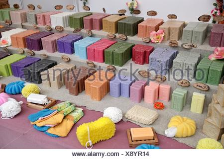Natural soaps  Fira Natura  Lleida, Catalonia, Spain - Stock Photo