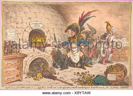 Tiddy-Doll, the Great French-Gingerbread-Baker; Drawing Out a New Batch of Kings, His Man Hopping Talley, Mixing Up the Dough. Artist: James Gillray - Stock Photo