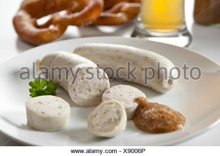 Riedlingen, Germany, white sausage with sweet mustard - Stock Photo