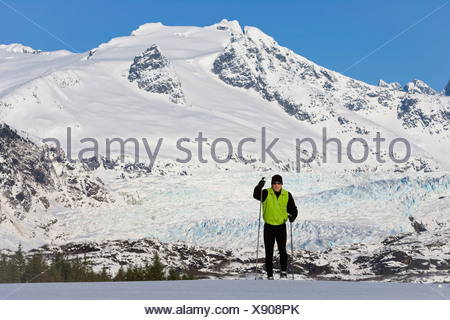 Nordic Skier Enjoying The Wide Open And Uncrowded Skiing In The Juneau Area, Mendenhall Glacier And Towers Beyond, Alaska. - Stock Photo
