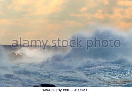 Waves breaking on coastline, Peggy's Cove, Nova Scotia, Canada - Stock Photo