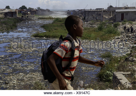 Canal with raw sewage in Port-au-Prince, Haiti - Stock Photo