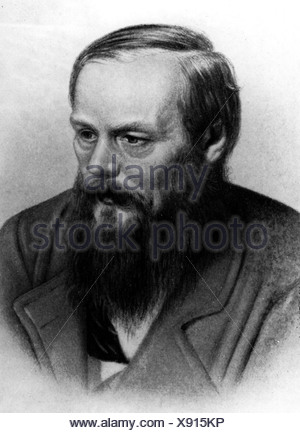 Dostoevsky, Fyodor Mikhailovich, 11.11.1821 - 9.2.1881, Russian writer, novelist, portrait, after collotype by A. F. Dressler, Additional-Rights-Clearances-NA - Stock Photo