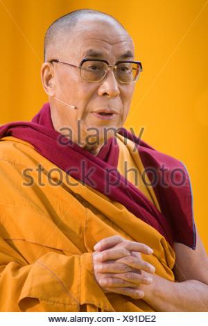 His Holiness the 14th Dalai Llama, Tenzin Giatso, Commerzbank Arena venue, Frankfurt am Main, Hesse, Germany, Europe - Stock Photo