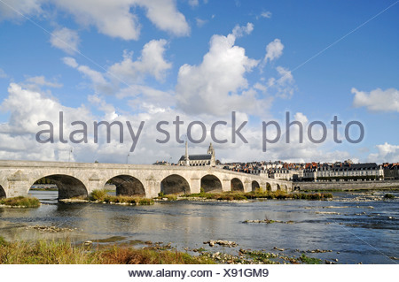 Pont Jacques Gabriel across the Loire river, Cathedrale Saint-Louis, Blois, Loir-et-Cher, Centre, France, Europe, PublicGround - Stock Photo